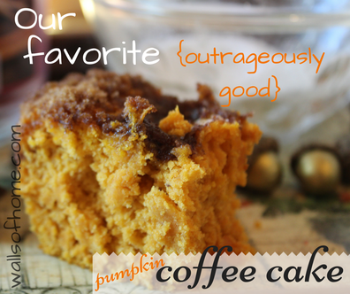 Our favorite {outrageously good} Pumpkin Coffee Cake | a quick, 5 ingredient, must have coffee cake recipe.